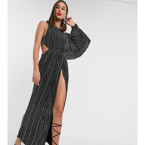 ASOS DESIGN Tall - Robe longueur mollet avec ornement clouté linéaire et manche drapée - ASOS Tall - Modalova