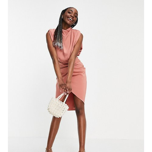 ASOS DESIGN Tall - Robe mi-longue à col bénitier avec jupe portefeuille - ASOS Tall - Modalova