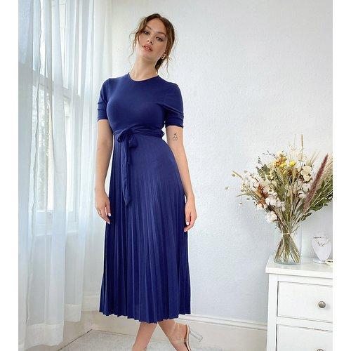 ASOS DESIGN Tall - Robe mi-longue plissée à ceinture - Bleu marine - ASOS Tall - Modalova