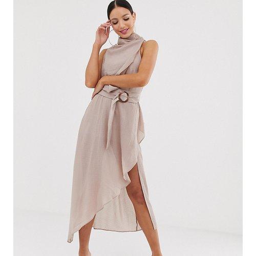 ASOS DESIGN Tall - Robe mi-longue texturée à ceinture avec encolure drapée - ASOS Tall - Modalova