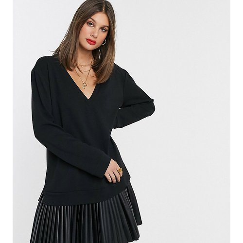 ASOS DESIGN Tall - Robe sweat avec ourlet plissé imitation cuir - ASOS Tall - Modalova