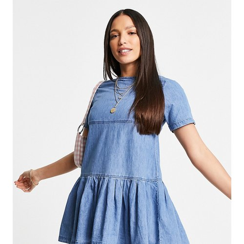 ASOS DESIGN Tall - Robe t-shirt babydoll en jean souple - moyen délavé - ASOS Tall - Modalova