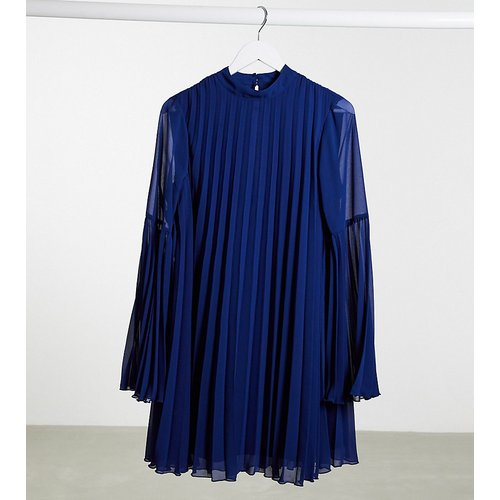 ASOS DESIGN Tall -Robe trapèze courte plissée à manches évasées - Bleu marine - ASOS Tall - Modalova