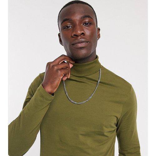 Tall - T-shirt col roulé à manches longues - Kaki - ASOS DESIGN - Modalova