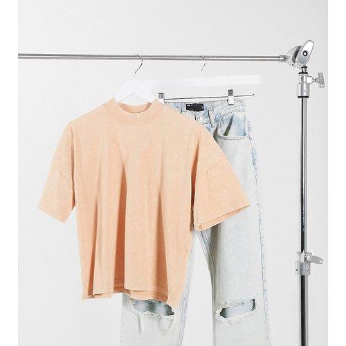 ASOS DESIGN Tall - T-shirt coupe carrée avec col côtelé - Paille délavé - ASOS Tall - Modalova