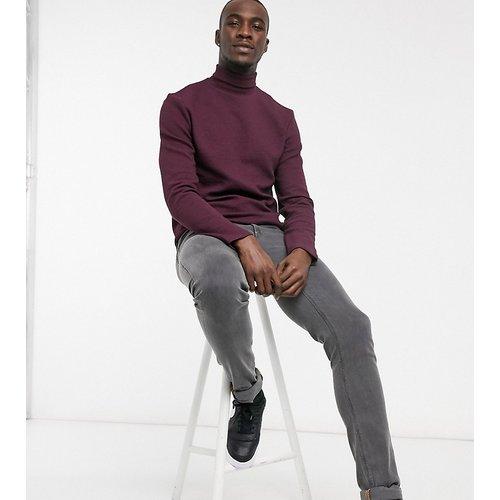 Tall - T-shirt en tissu texturé à col roulé et manches longues - Bordeaux - ASOS DESIGN - Modalova