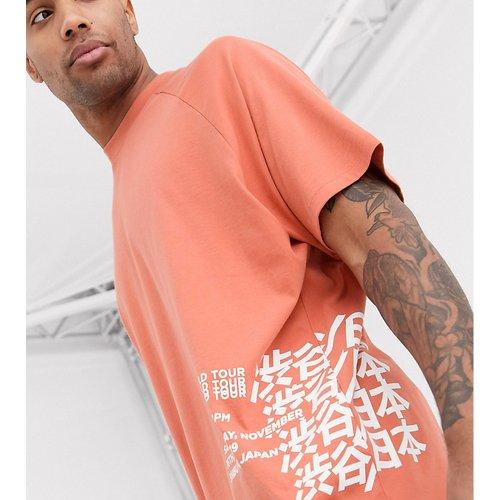 Tall - T-shirt long oversize en coton biologique à manches raglan et inscription imprimée - ASOS DESIGN - Modalova