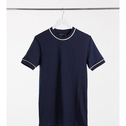 Tall - T-shirt moulant habillé à liserés - Bleu marine - ASOS DESIGN - Modalova