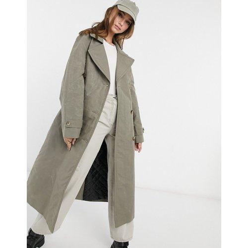 Trench-coat à surpiqûres contrastantes - Sauge - ASOS DESIGN - Modalova
