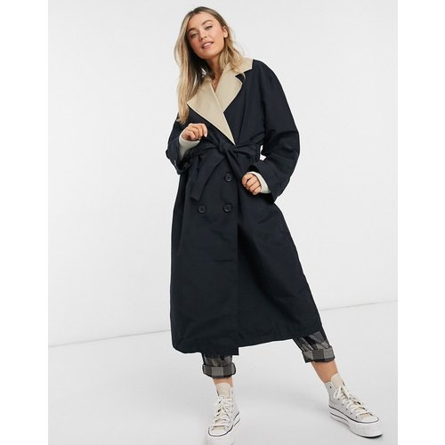 Trench-coat contrasté - Taupe et - ASOS DESIGN - Modalova