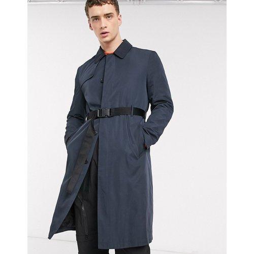 Trench-coat coupe droite avec ceinture - Bleu marine - ASOS DESIGN - Modalova