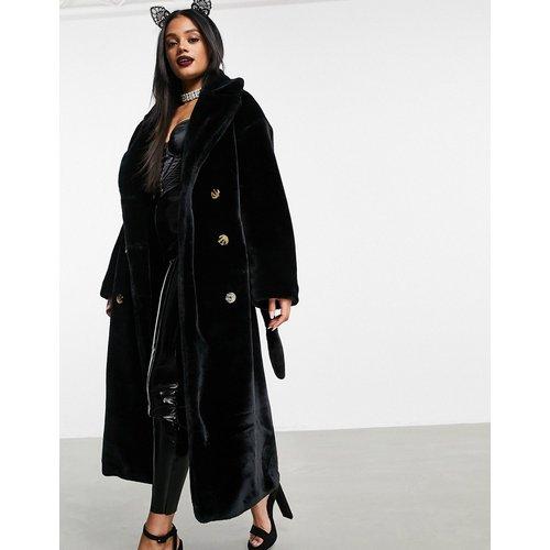 Trench-coat en fausse fourrure - Noir - ASOS DESIGN - Modalova