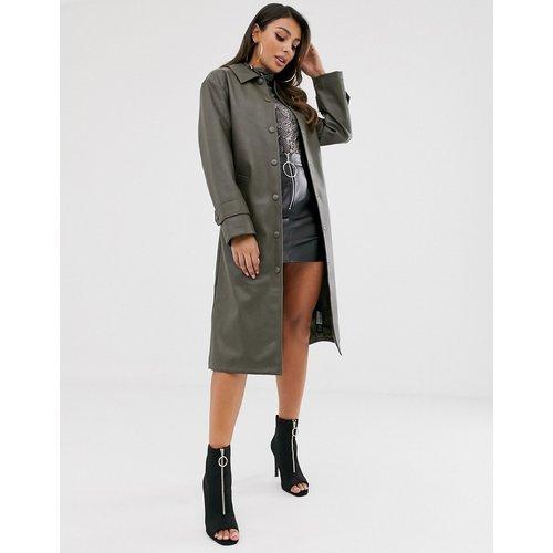 Trench-coat en imitation cuir - Kaki - ASOS DESIGN - Modalova