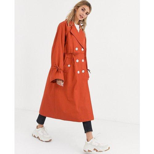 Trench-coat luxe à boutons contrastants - Rouille - ASOS DESIGN - Modalova