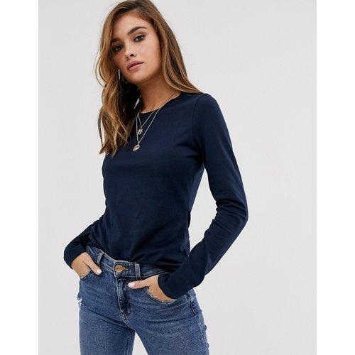 Ultimate - T-shirt ras de cou à manches longues en coton biologique - Bleu marine - ASOS DESIGN - Modalova