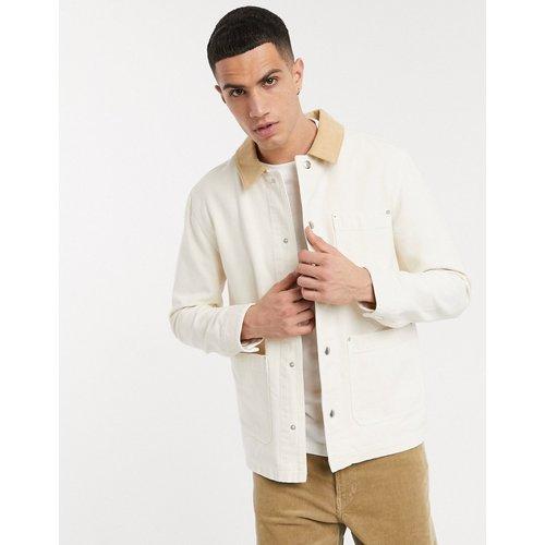Veste en jean avec col en velours côtelé - Écru - ASOS DESIGN - Modalova