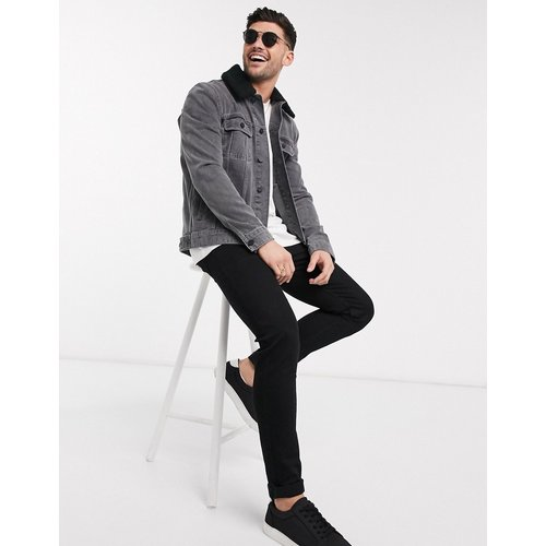 Veste en jean avec col imitation peau de mouton amovible - ASOS DESIGN - Modalova