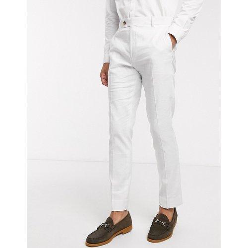 Wedding - Pantalon de costume ajusté en tissu stretch de lin et coton - tourterelle - ASOS DESIGN - Modalova