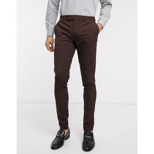 Wedding - Pantalon de costume slim à mini carreaux - Bordeaux et gris - ASOS DESIGN - Modalova