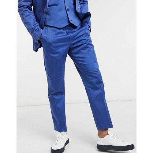 Wedding - Pantalon de costume slim en coton - Bleu - ASOS DESIGN - Modalova