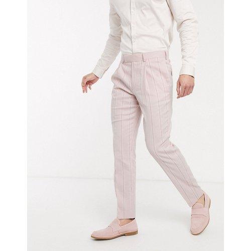 Wedding - Pantalon de costume slim en lin et coton stretch à rayures - et blanc - ASOS DESIGN - Modalova
