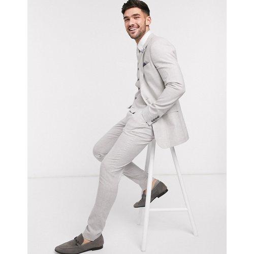 Wedding - Pantalon de costume super ajusté en tissu stretch de coton et lin - Carreaux - ASOS DESIGN - Modalova