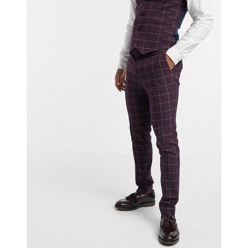 Wedding - Pantalon de costume super slim à carreaux - Bordeaux - ASOS DESIGN - Modalova