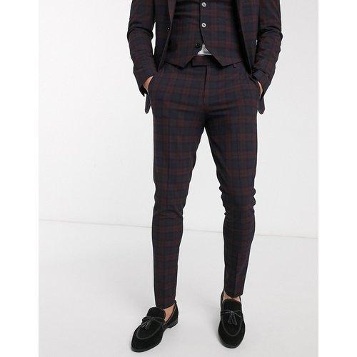 Wedding - Pantalon de costume super slim à carreaux écossais - Bordeaux - ASOS DESIGN - Modalova