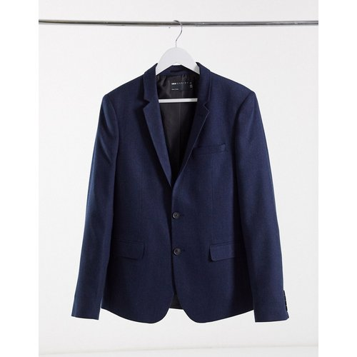 Wedding - Veste de costume skinny en laine mélangée à chevrons - Bleu - ASOS DESIGN - Modalova