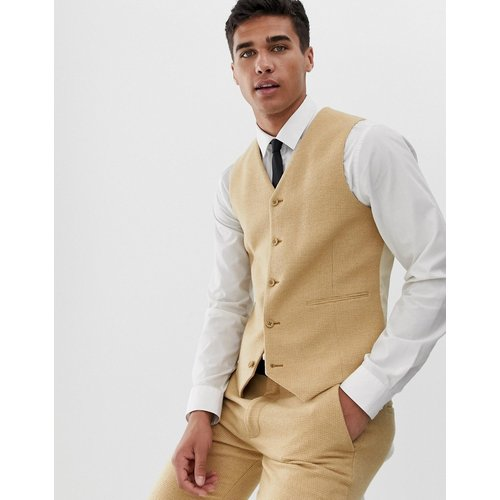 Wedding - Veston de costume super skinny en mélange de laine et petits carreaux - Taupe - ASOS DESIGN - Modalova