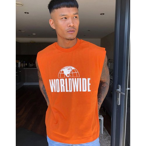 Worldwide - T-shirt oversize sans manches à imprimé - brûlé - ASOS DESIGN - Modalova
