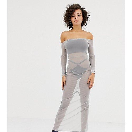 X LaQuan Smith - Robe mi-longue en tulle à épaules dénudées - ASOS DESIGN - Modalova