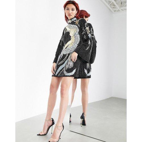 Robe courte en velours à décoration oiseau en sequin - ASOS EDITION - Modalova
