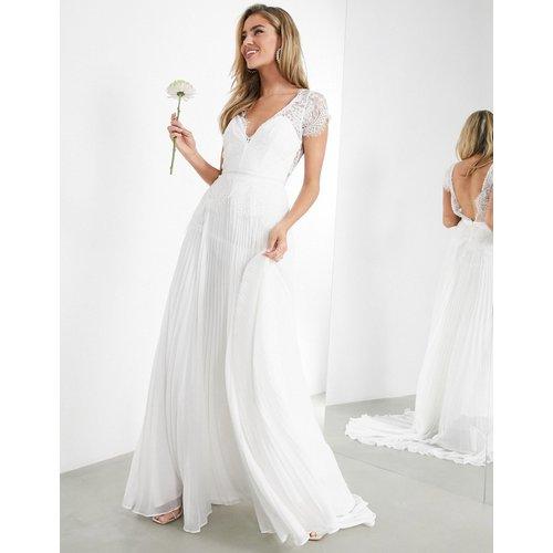 Robe de mariage en dentelle à décolleté plongeant avec jupe plissée - ASOS EDITION - Modalova