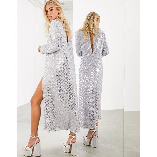 Robe longue fendue sur le devant à sequins effet miroir - ASOS EDITION - Modalova