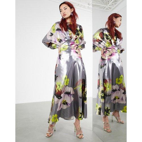 Robe mi-longue à manches blouson avec imprimé fleuri métallisé - ASOS EDITION - Modalova