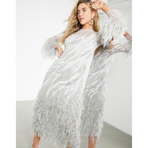 Robe mi-longue à motif abstrait à perles avec fausses plumes - ASOS EDITION - Modalova