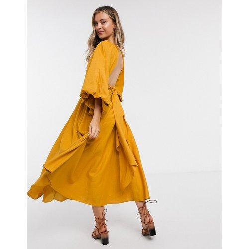 Robe mi-longue en lin à manches oversize - Moutarde - ASOS EDITION - Modalova