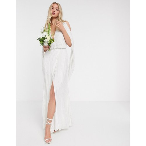 Samantha - Robe de mariée à manches drapées ornée de perles - ASOS EDITION - Modalova