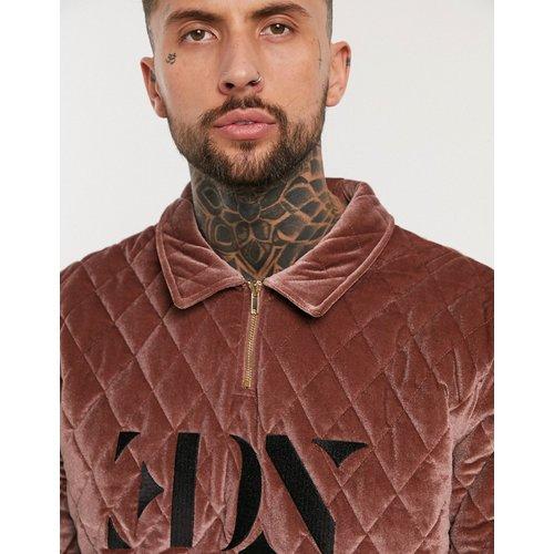 Sweat-shirt Harrington en velours matelassé avec logo brodé et demi-patte zippée - Bordeaux - ASOS EDITION - Modalova