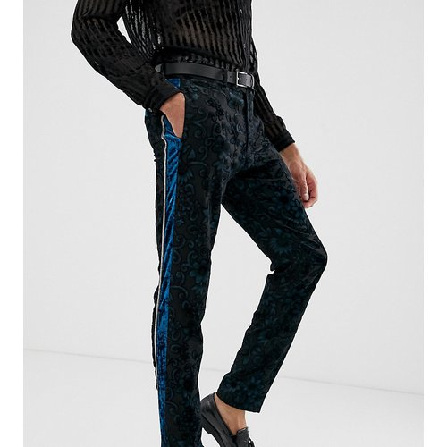 Tall - Pantalon de smoking coupe slim en velours dévoré - Sarcelle - ASOS EDITION - Modalova
