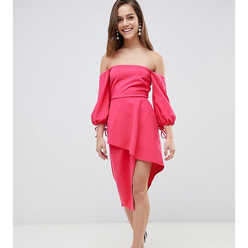 Robe mi-longue style Bardot avec jupe portefeuille effet superposé - ASOS Petite - Modalova