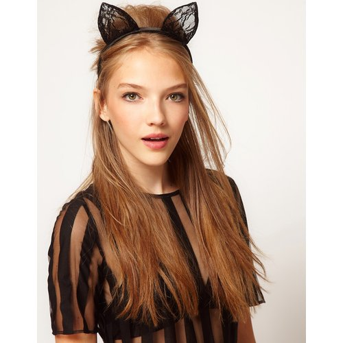 ASOS - Serre-tête orné d'oreilles de chat en dentelle - ASOS DESIGN - Modalova