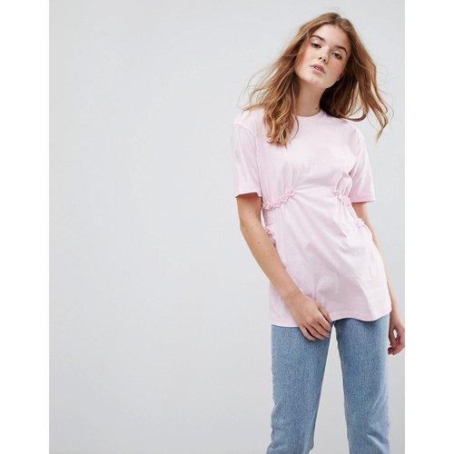 ASOS - T-shirt avec taille froncée et mini volants en dentelle - ASOS DESIGN - Modalova