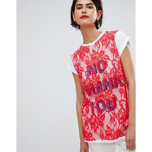 ASOS - T-shirt imprimé avec superposition en dentelle - ASOS DESIGN - Modalova