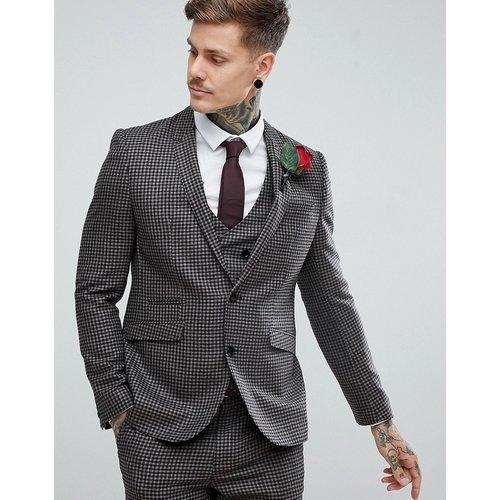 ASOS - Veste de costume de mariage slim 100% laine motif pied-de-poule - Mastic - ASOS DESIGN - Modalova