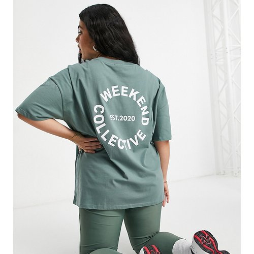 ASOS - Weekend Collective Curve - T-shirt oversize avec logo - Kaki - ASOS Weekend Collective - Modalova