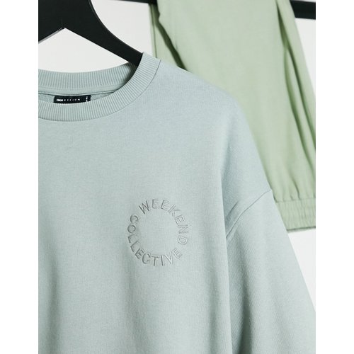 ASOS - Weekend Collective - Sweat-shirt avec logo brodé - cendré délavé - ASOS Weekend Collective - Modalova