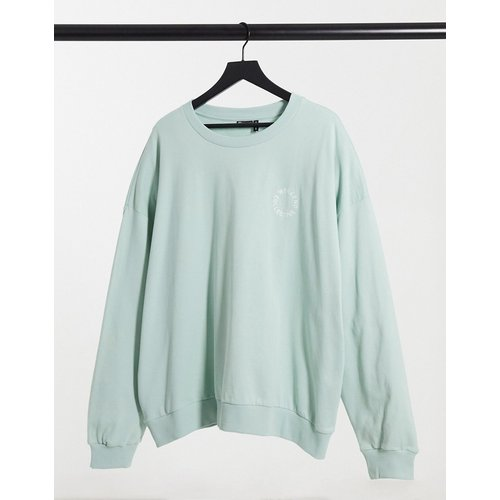 ASOS - Sweat-shirt oversize à broderie logo contrastante (ensemble) - Vert pastel - Weekend Collective - Modalova