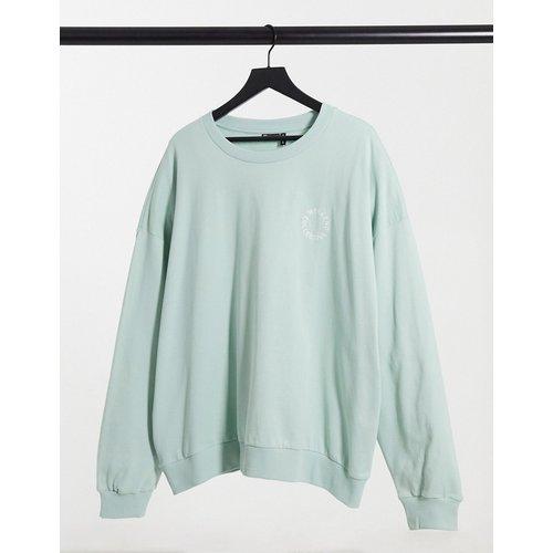 Sweat-shirt oversize d'ensemble à broderie logo contrastante - Vert pastel - ASOS Weekend Collective - Modalova